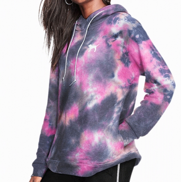 VICTORIA/'S SECRET PINK Tie Dye Oversized Crossover Tunic Hoodie New Great Gift